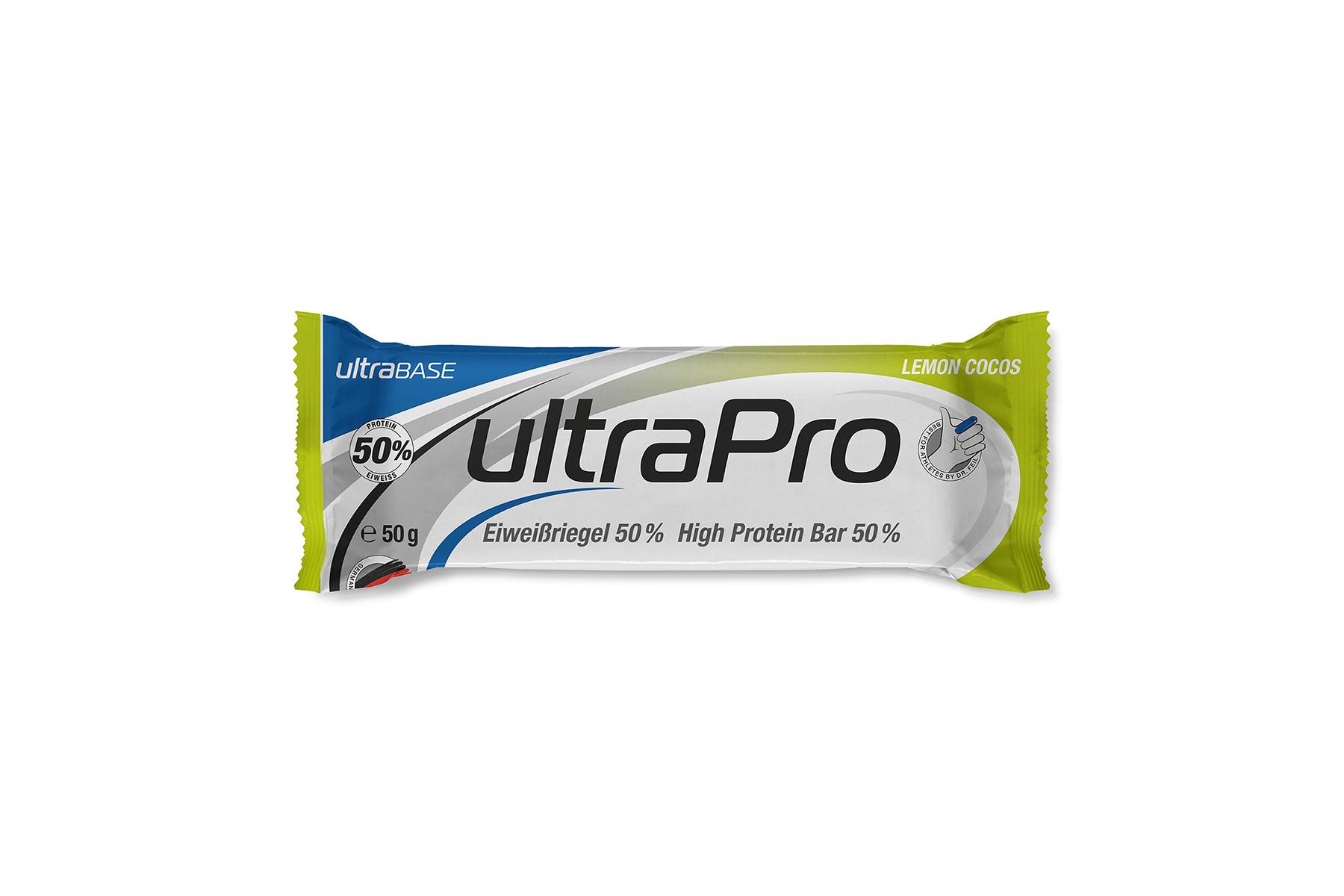 ultraSPORTS ultraPro Bar 50 % Eiweißriegel, lemon-cocos